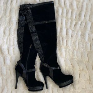 Colin Stuart Black Over the Knee Leather Boots